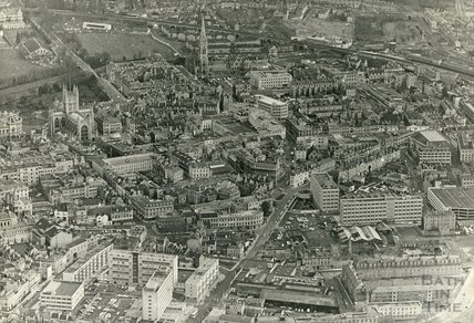 1969 Aerial view of Bath City Centre