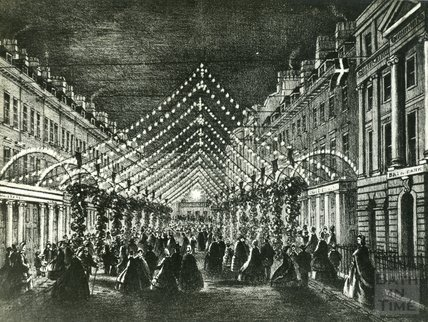 Illuminations in Milsom Street for the wedding of the Prince of Wales c.1863