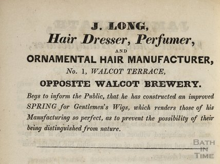 J Long, Hair Dresser, Perfumer, and Ornamental Hair Manufacturer, No 1 Walcot Terrace, 1833