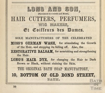 James Long (Successor to Coote & Moss) Hair Cutters, Perfumers, Wig Makers, 1849