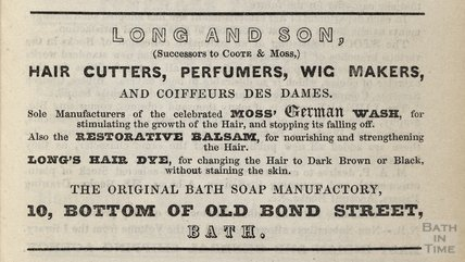 Long and Son (Successor to Coote & Moss) Hair Cutters, Perfumers, Wig Makers, 1848
