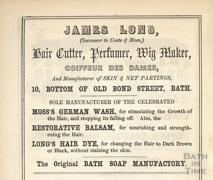 James Long (Successor to Coote & Moss) Hair Cutter, Perfumer, Wig Maker, 1849