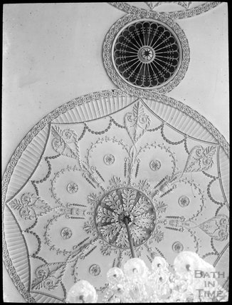 Chandelier and ceiling plaster work thought to be the Guildhall, Bath, c.1905