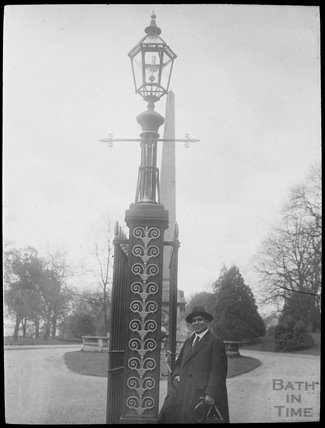 Gentleman standing at entrance to Royal Victoria Park, c.1905