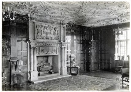 Stockton Manor, Wiltshire, fireplace and ornate plaster celing, c.1910s