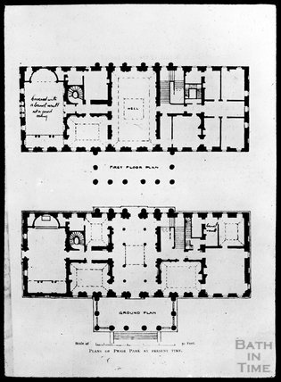 Plans of Prior Park at Present Time, c.1905