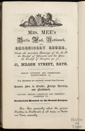 Mrs Mees, Berlin Wool, Needlework and Embroidery Rooms, 41, Milsom Street, 1846