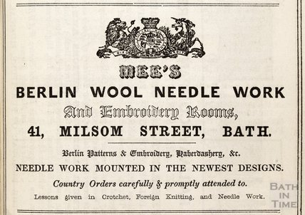 Mees Berlin Wool Needle Work, 41 Milsom Street, Bath, 1849
