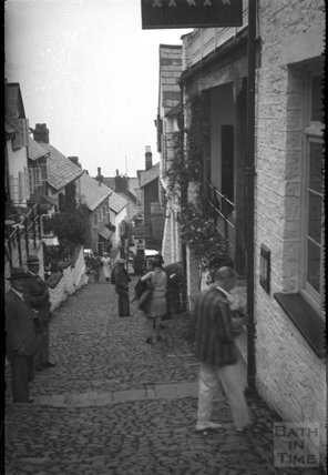 Descending the cobbles at Clovelly North Devon, c.1930s
