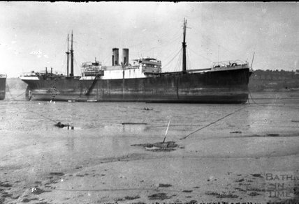 A large steam vessel at anchor, somewhere in Devon? c.1930s
