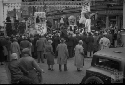 Carnival procession in an unidentified High Street 1930