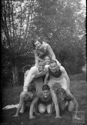Clowning in front of the camera at Warleigh Weir, c.1930s