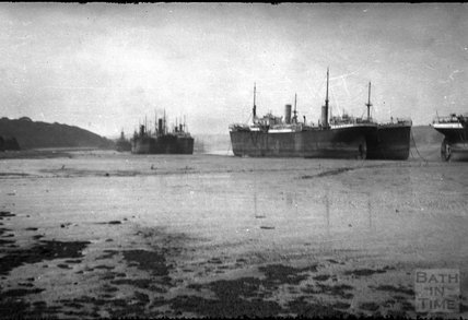 Large steam vessels at anchor, c.1930s