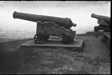 Ornamental cannons at the Wellington Monument, Blackdown Hills, 1932