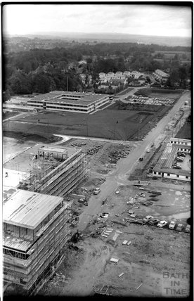 Aerial view of the University of Bath site under development, 31 October 1965