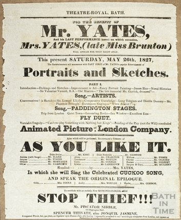 Playbill for the benefit of Mr Yates, Saturday May 26th, 1827