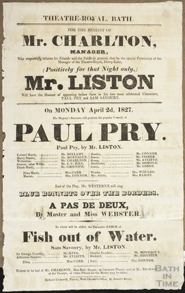 Playbill for the benefit of Mr Charlton, Manager, April 2nd 1827