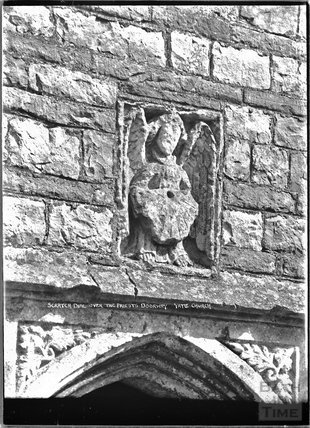 Scratch Dial over the Priest's Doorway, Yate Church, c.1920s