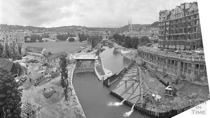 Panorama of the Pulteney Weir scheme under construction 21 July 1971