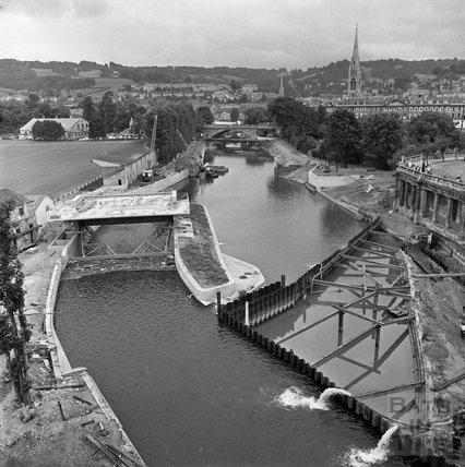 The Pulteney Weir scheme under construction 21 July 1971