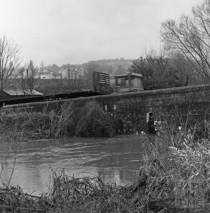 A lorry crossing the flooded river at Bathford, 22 January 1971