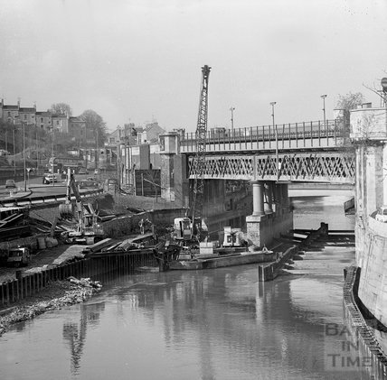 Work on the Flood Prevention scheme at the Skew Bridge, Bath Spa Station, c.1971