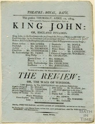 Playbill for King John and The Review, Thursday April 12, 1804