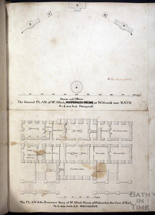 The General Plan of Mr Allen's House and Offices at Widcombe near Bath as it was first designed, c.1735