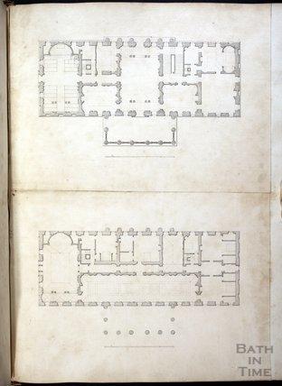 Floor Plans of Prior Park, as drawn by John Wood the Elder c.1735