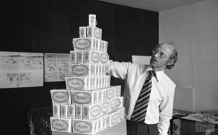 Toy master Eric Snook and his boxes of rose petals 4 August 1977