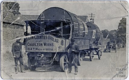 Steam lorries from Western Counties Haulage Company, Possibly in newton Road, Twerton, c.1910