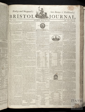Cover of the Bristol Journal, Saturday March 24, 1804