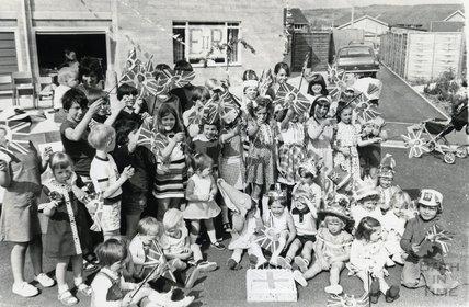 A Silver Jubilee Street Party, possibly in Twerton, Bath, June 1977