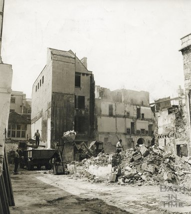 The demolition of buildings in High Street and Upper Borough Walls, Bath to make way for the Harvey Block c.1964