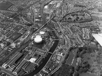 1973 Aerial view of Upper Bristol Road, Bath and the gasworks