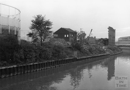 Bath's gasworks, in the process of demolition, November 1972