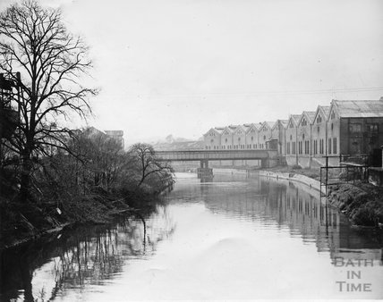 A river view of Bath's gasworks, Upper Bristol Road, c.1960s?