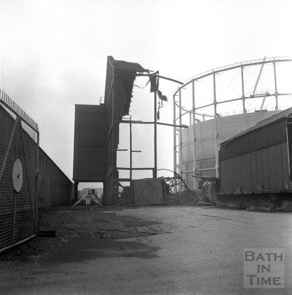 The demolition of Bath's gasworks, Lower Weston, 1 March 1972