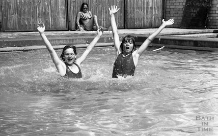 Mark Watts and Trevor Woodallin the pool at Somervale School Sports Day, 25 June 1976