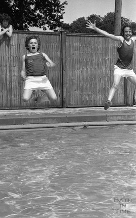 Mark Watts and Trevor Woodall jump into the pool at Somervale School Sports Day, 25 June 1976