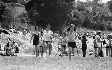 Girls running race at Somervale School Sports Day, 25 June 1976