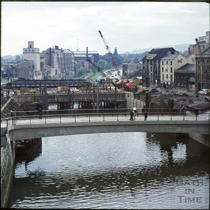 The construction of Churchill Bridge, Bath, c.1964
