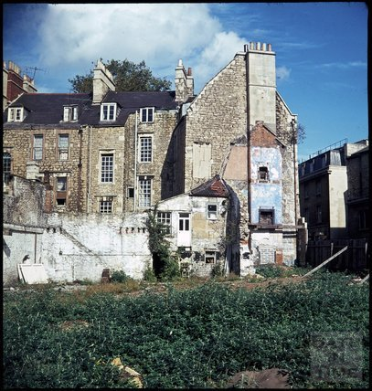 The rear of Kingsmead Square, with the recently demolished Avon Street to the right, c.1971