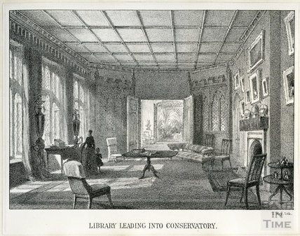 The library leading to the conservatory, Farleigh House, Farleigh Hungerford, c.1850s?