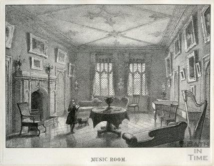 The music room, Farleigh House, Farleigh Hungerford, c.1850s?