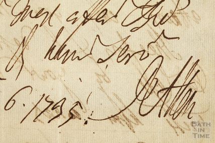 Detail from a letter from Ralph Allen to his sister, 6 December 1795