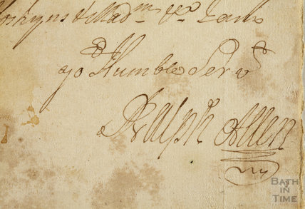Ralph Allen's signature from a letter date unclear. 1732?