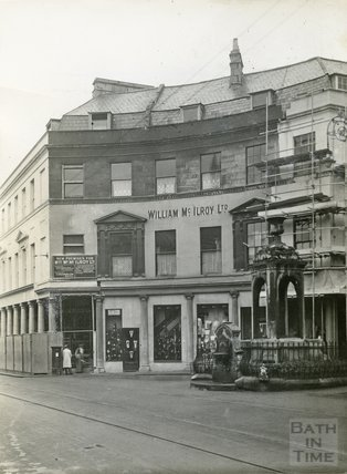 The mineral water fountain, Bath Street and Stall Street, c.1930s