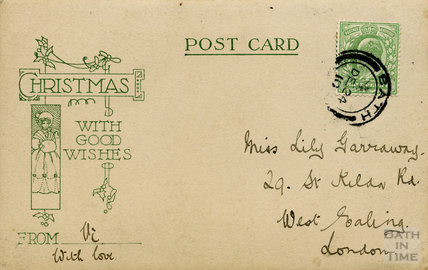 Christmas message from the photographer's wife Violet, 1910