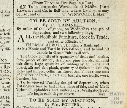 Auction of effects of bankrupt builder Thomas Abbott, 29 Aug 1793